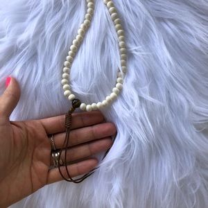 Jewelry - Mala ivory and brown beaded meditation necklace